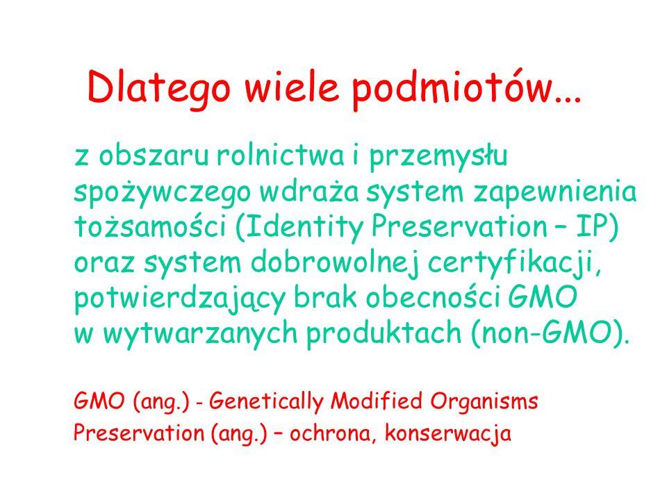 z obszaru rolnictwa i przemysłu spożywczego wdraża system zapewnienia tożsamości (Identity Preservation – IP) oraz system dobrowolnej certyfikacji, potwierdzający brak obecności GMO w wytwarzanych produktach (non-GMO).