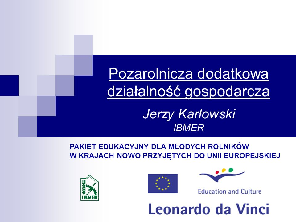 Pozarolnicza dodatkowa działalność gospodarcza Jerzy Karłowski IBMER PAKIET EDUKACYJNY DLA MŁODYCH ROLNIKÓW W KRAJACH NOWO PRZYJĘTYCH DO UNII EUROPEJS