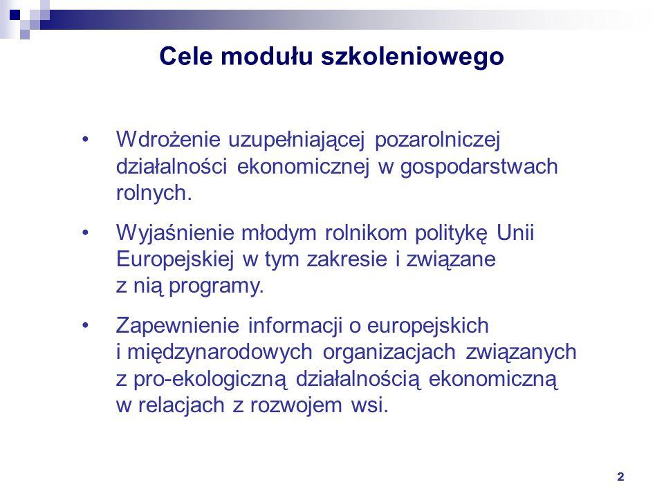 2 Cele modułu szkoleniowego Wdrożenie uzupełniającej pozarolniczej działalności ekonomicznej w gospodarstwach rolnych. Wyjaśnienie młodym rolnikom pol