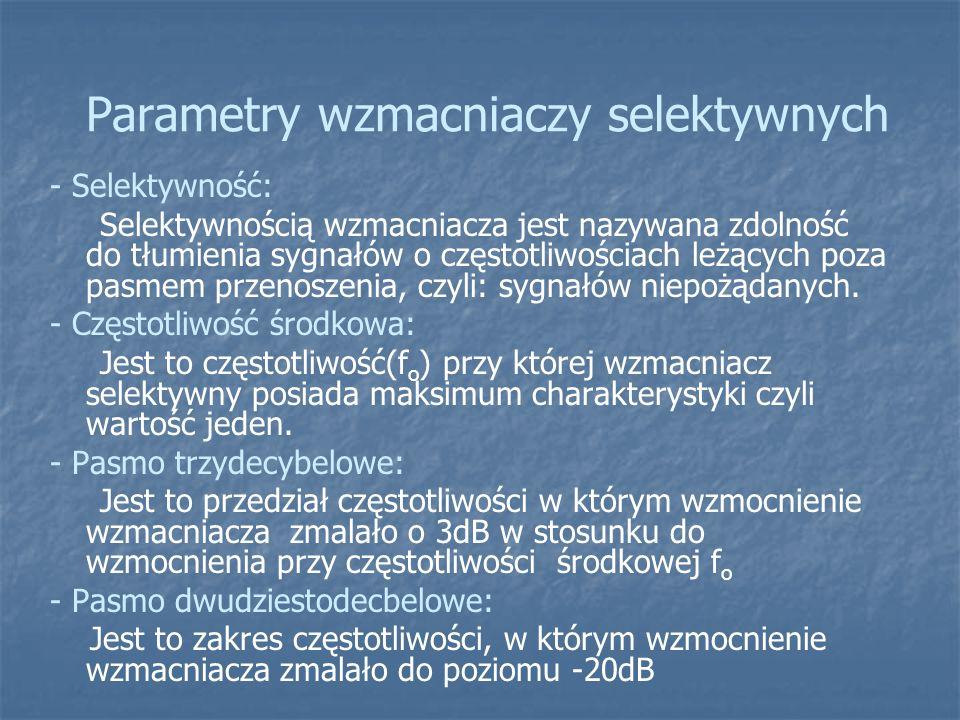 Parametry wzmacniaczy selektywnych - Selektywność: Selektywnością wzmacniacza jest nazywana zdolność do tłumienia sygnałów o częstotliwościach leżących poza pasmem przenoszenia, czyli: sygnałów niepożądanych.