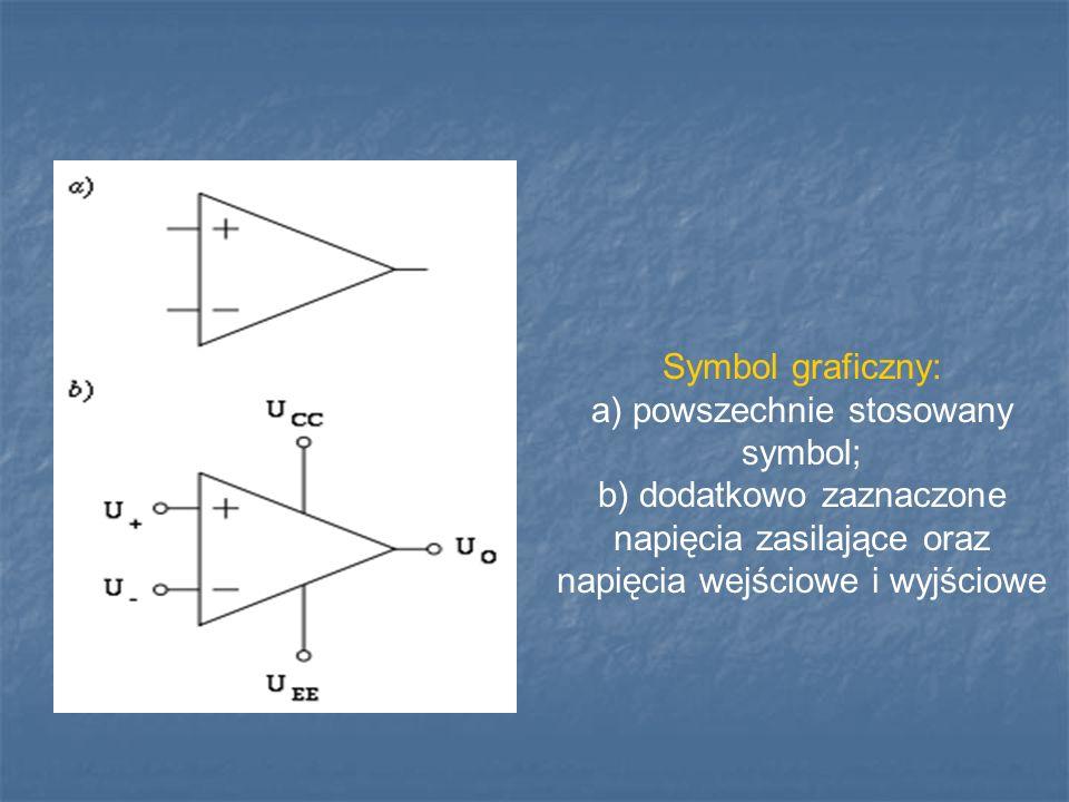 Symbol graficzny: a) powszechnie stosowany symbol; b) dodatkowo zaznaczone napięcia zasilające oraz napięcia wejściowe i wyjściowe