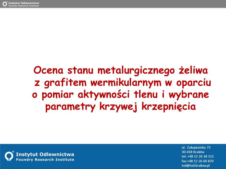 www.iod.krakow.pl ul. Zakopiańska 73 30-418 Kraków tel. +48 12 26 18 111 fax +48 12 26 60 870 iod@iod.krakow.pl Ocena stanu metalurgicznego żeliwa z g