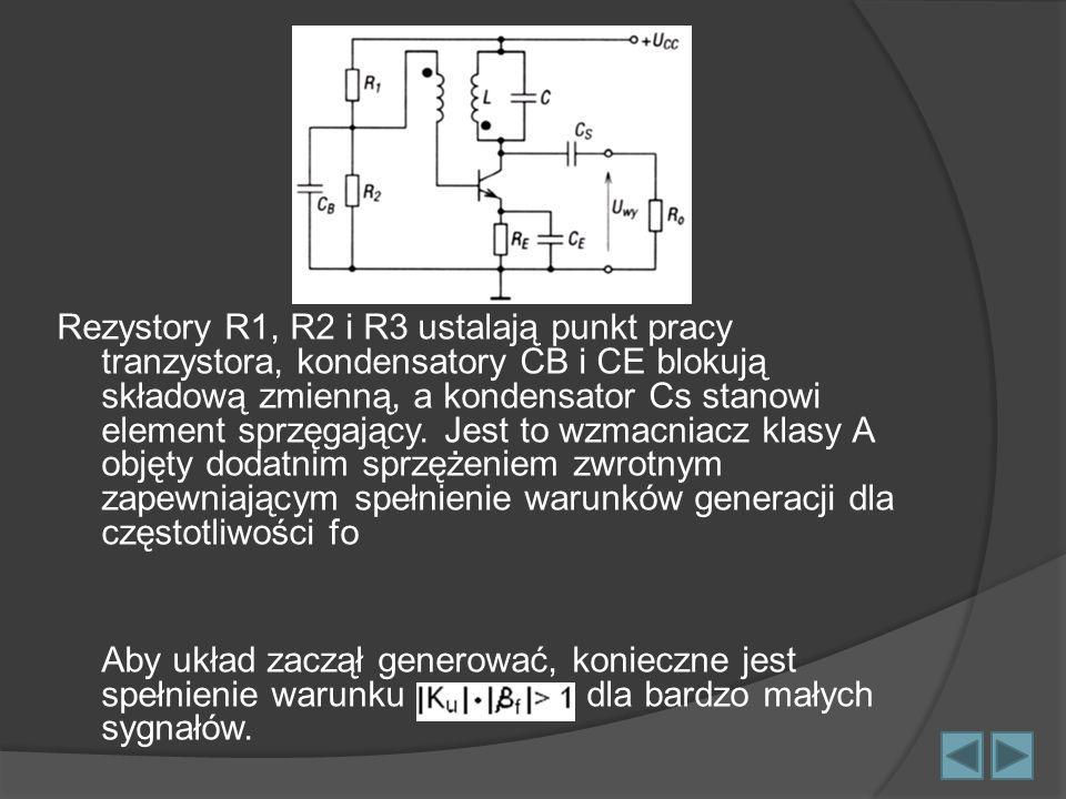 Rezystory R1, R2 i R3 ustalają punkt pracy tranzystora, kondensatory CB i CE blokują składową zmienną, a kondensator Cs stanowi element sprzęgający. J