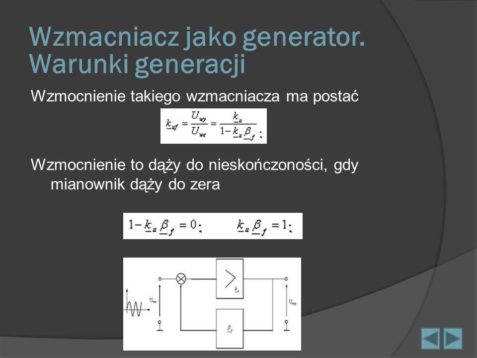 Wzmocnienie takiego wzmacniacza ma postać Wzmocnienie to dąży do nieskończoności, gdy mianownik dąży do zera Wzmacniacz jako generator. Warunki genera