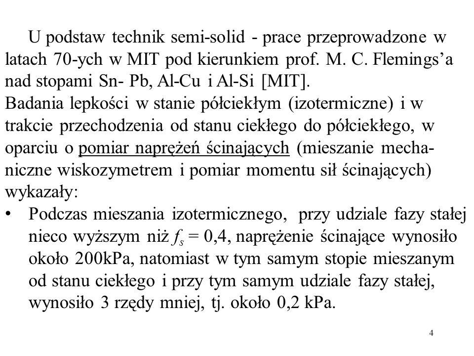 U podstaw technik semi-solid - prace przeprowadzone w latach 70-ych w MIT pod kierunkiem prof. M. C. Flemingsa nad stopami Sn- Pb, Al-Cu i Al-Si [MIT]