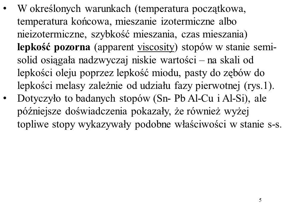 W określonych warunkach (temperatura początkowa, temperatura końcowa, mieszanie izotermiczne albo nieizotermiczne, szybkość mieszania, czas mieszania)