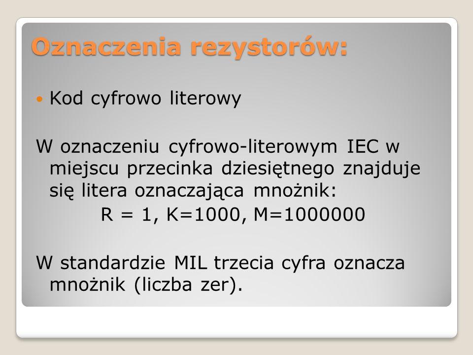Oznaczenia rezystorów: Kod cyfrowo literowy W oznaczeniu cyfrowo-literowym IEC w miejscu przecinka dziesiętnego znajduje się litera oznaczająca mnożni