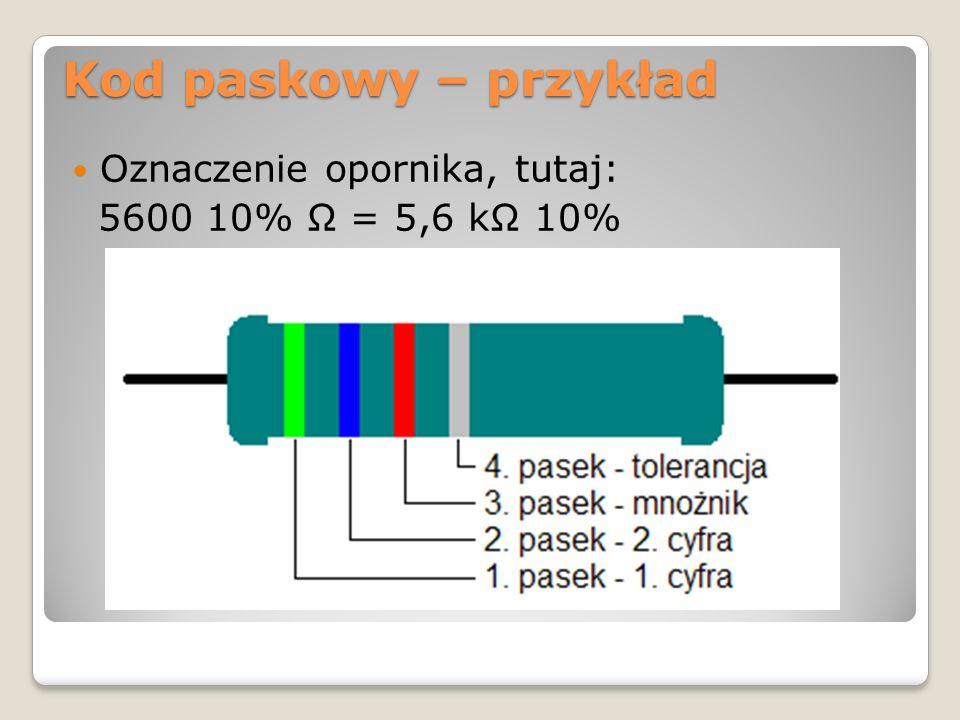 Oznaczenia rezystorów: Kod cyfrowo literowy W oznaczeniu cyfrowo-literowym IEC w miejscu przecinka dziesiętnego znajduje się litera oznaczająca mnożnik: R = 1, K=1000, M=1000000 W standardzie MIL trzecia cyfra oznacza mnożnik (liczba zer).