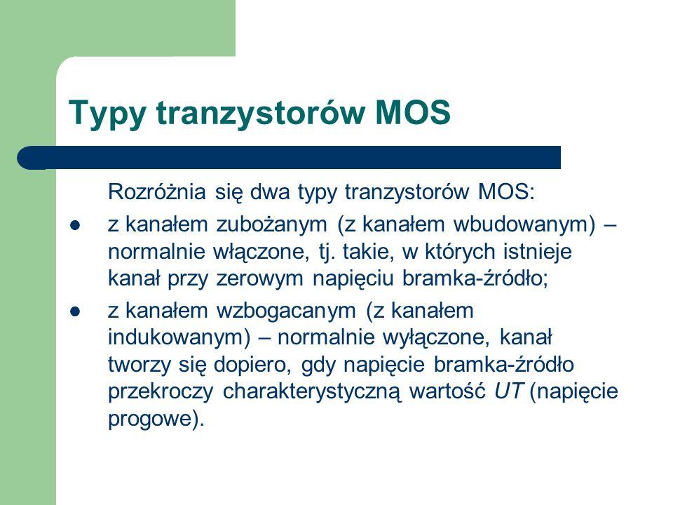 Typy tranzystorów MOS Rozróżnia się dwa typy tranzystorów MOS: z kanałem zubożanym (z kanałem wbudowanym) – normalnie włączone, tj. takie, w których i