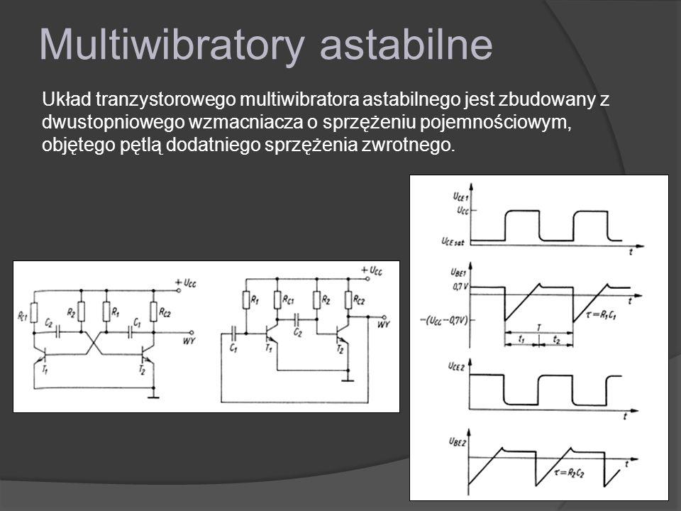 Multiwibratory astabilne Układ tranzystorowego multiwibratora astabilnego jest zbudowany z dwustopniowego wzmacniacza o sprzężeniu pojemnościowym, objętego pętlą dodatniego sprzężenia zwrotnego.