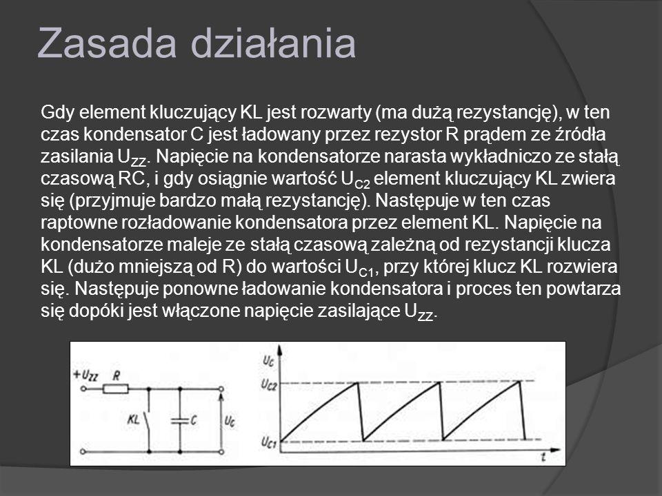 Zasada działania Gdy element kluczujący KL jest rozwarty (ma dużą rezystancję), w ten czas kondensator C jest ładowany przez rezystor R prądem ze źródła zasilania U ZZ.