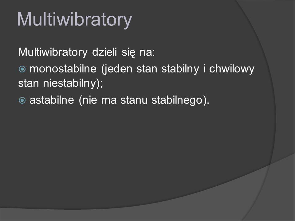 Multiwibratory Multiwibratory dzieli się na: monostabilne (jeden stan stabilny i chwilowy stan niestabilny); astabilne (nie ma stanu stabilnego).