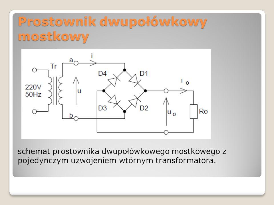 Prostownik dwupołówkowy mostkowy schemat prostownika dwupołówkowego mostkowego z pojedynczym uzwojeniem wtórnym transformatora.