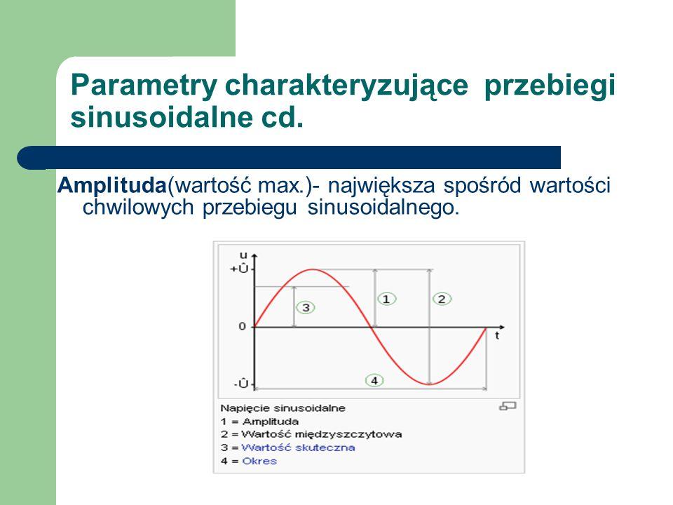 Parametry charakteryzujące przebiegi sinusoidalne cd. Amplituda(wartość max.)- największa spośród wartości chwilowych przebiegu sinusoidalnego.