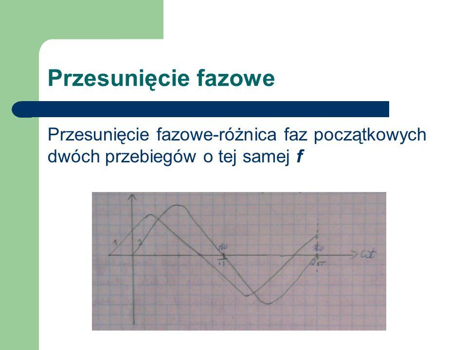 Przesunięcie fazowe Przesunięcie fazowe-różnica faz początkowych dwóch przebiegów o tej samej f