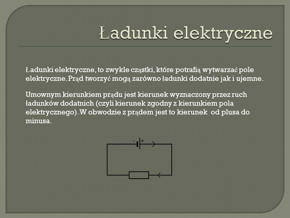 Ł adunki elektryczne, to zwykle cz ą stki, które potrafi ą wytwarza ć pole elektryczne. Pr ą d tworzy ć mog ą zarówno ł adunki dodatnie jak i ujemne.
