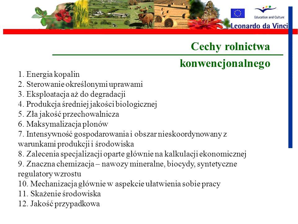 II – Ekologiczne Biologiczne i Organiczno-Biologiczne (oparte na naturze ) Biodynamiczne (wykorzystanie oddziaływania planet ) Kierunki związane z eko