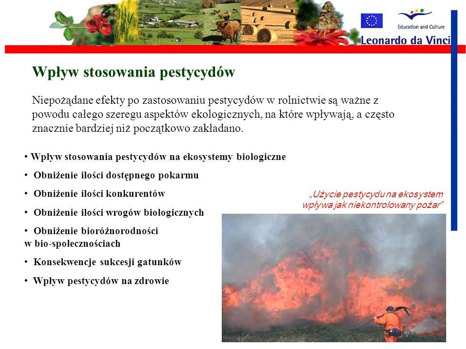 Los pestycydów w środowisku Pestycydy, po tym jak zostaną użyte na rośliny, albo na glebę, przechodzą cykl przemian, fizycznych, chemicznych i biologi