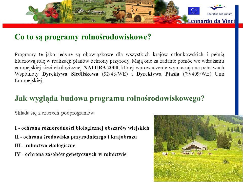 Unijne rozporządzenia w sprawie programów ochrony środowiska rolniczego Programy rolno-środowiskowe Rolnicy zobowiązują się przynajmniej przez pięć la