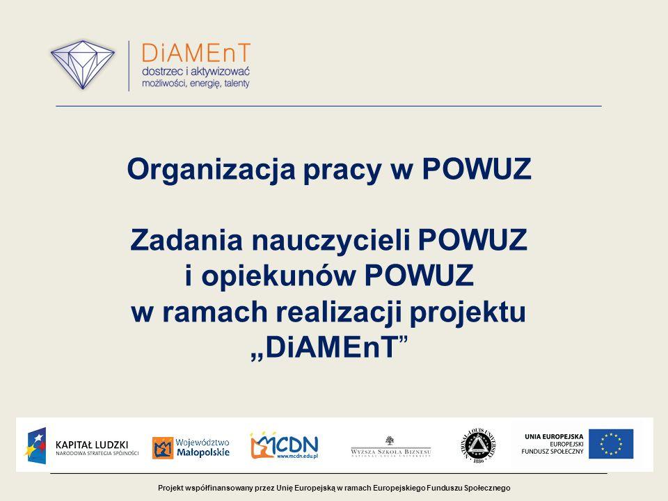 Projekt współfinansowany przez Unię Europejską w ramach Europejskiego Funduszu Społecznego Organizacja pracy w POWUZ Zadania nauczycieli POWUZ i opiekunów POWUZ w ramach realizacji projektu DiAMEnT