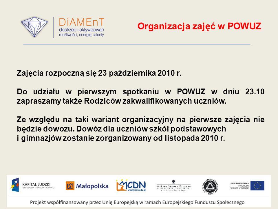 Organizacja zajęć w POWUZ Zajęcia rozpoczną się 23 października 2010 r.