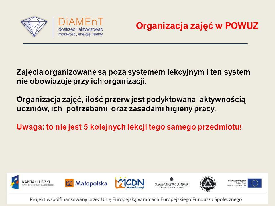 Organizacja zajęć w POWUZ Zajęcia organizowane są poza systemem lekcyjnym i ten system nie obowiązuje przy ich organizacji.