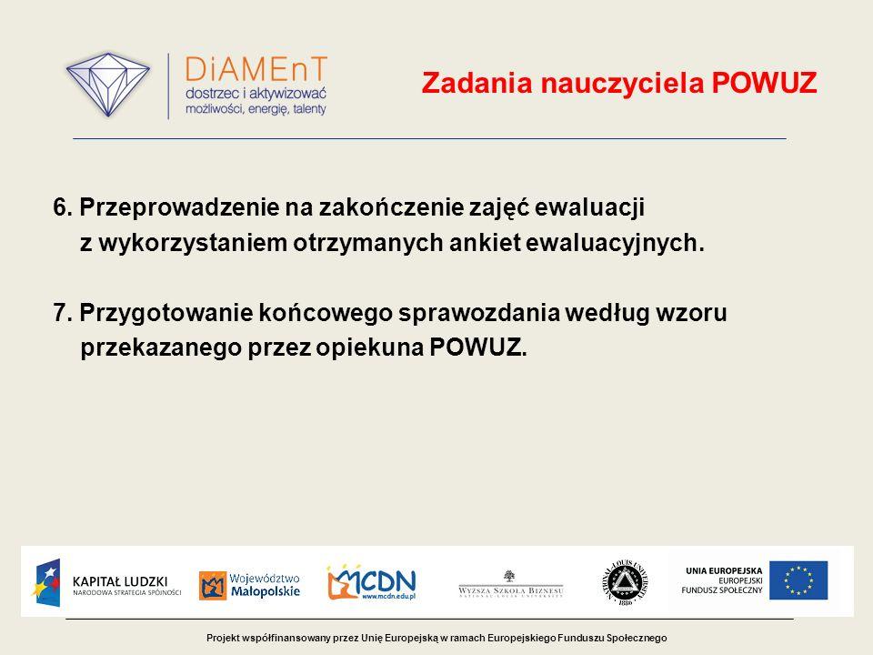 Projekt współfinansowany przez Unię Europejską w ramach Europejskiego Funduszu Społecznego Zadania nauczyciela POWUZ 6.