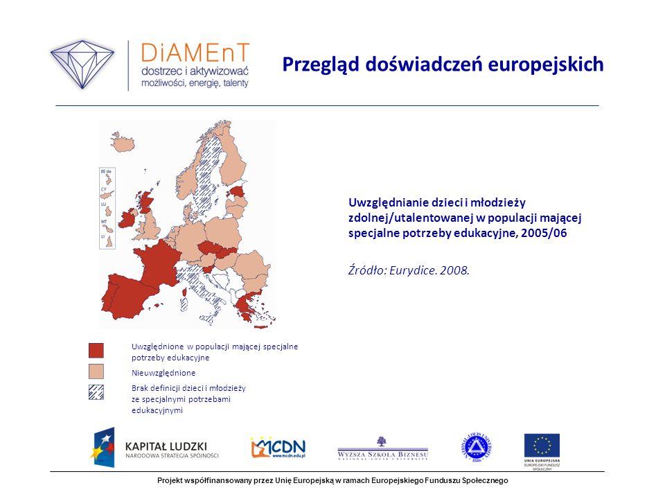 Uwzględnianie dzieci i młodzieży zdolnej/utalentowanej w populacji mającej specjalne potrzeby edukacyjne, 2005/06 Źródło: Eurydice.