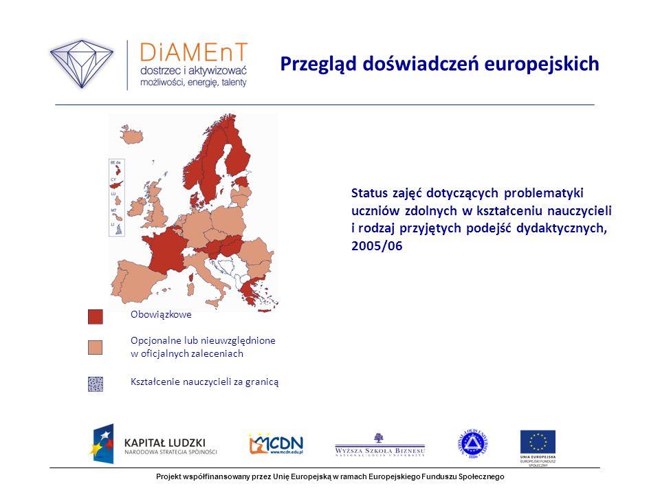Status zajęć dotyczących problematyki uczniów zdolnych w kształceniu nauczycieli i rodzaj przyjętych podejść dydaktycznych, 2005/06 Projekt współfinansowany przez Unię Europejską w ramach Europejskiego Funduszu Społecznego Przegląd doświadczeń europejskich Obowiązkowe Opcjonalne lub nieuwzględnione w oficjalnych zaleceniach Kształcenie nauczycieli za granicą