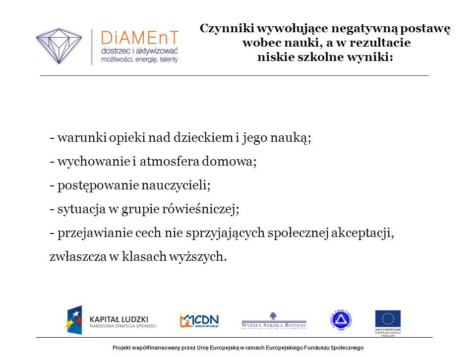 Projekt współfinansowany przez Unię Europejską w ramach Europejskiego Funduszu Społecznego - warunki opieki nad dzieckiem i jego nauką; - wychowanie i