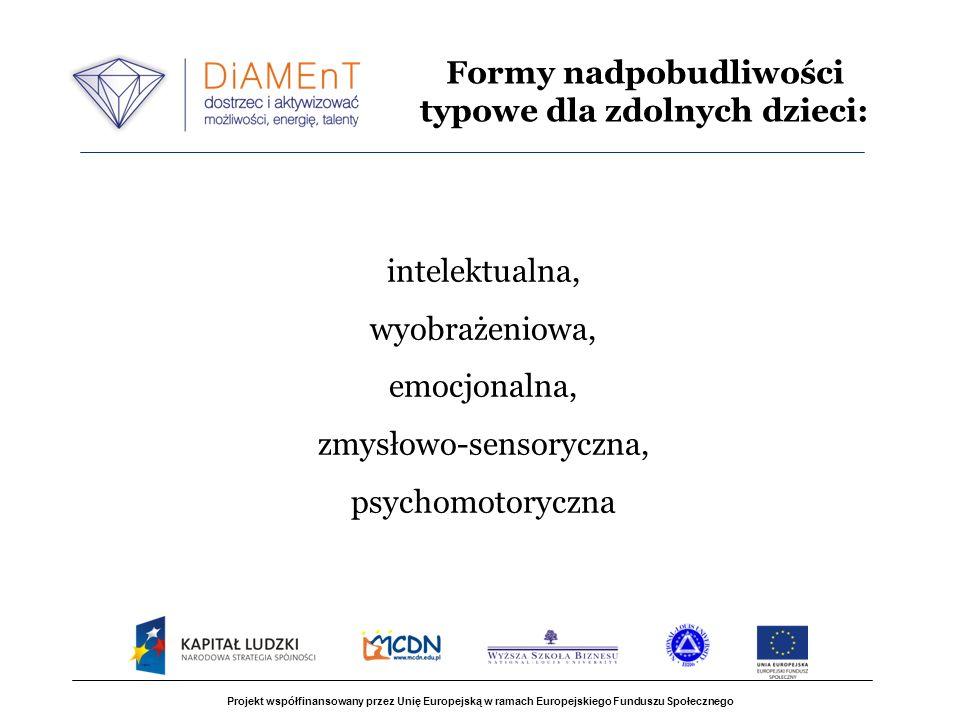 Projekt współfinansowany przez Unię Europejską w ramach Europejskiego Funduszu Społecznego intelektualna, wyobrażeniowa, emocjonalna, zmysłowo-sensoryczna, psychomotoryczna Formy nadpobudliwości typowe dla zdolnych dzieci: