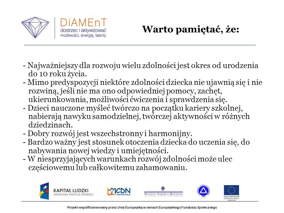 Projekt współfinansowany przez Unię Europejską w ramach Europejskiego Funduszu Społecznego - Najważniejszy dla rozwoju wielu zdolności jest okres od u