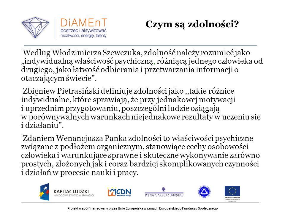 Projekt współfinansowany przez Unię Europejską w ramach Europejskiego Funduszu Społecznego Według Włodzimierza Szewczuka, zdolność należy rozumieć jako indywidualną właściwość psychiczną, różniącą jednego człowieka od drugiego, jako łatwość odbierania i przetwarzania informacji o otaczającym świecie.