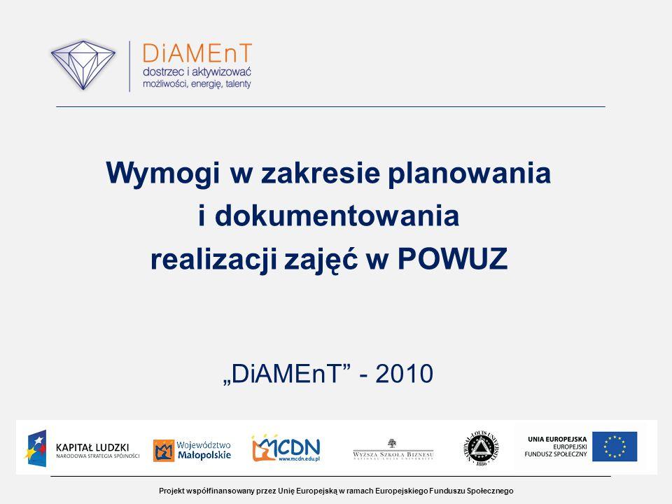 Projekt współfinansowany przez Unię Europejską w ramach Europejskiego Funduszu Społecznego Wymogi w zakresie planowania i dokumentowania realizacji zajęć w POWUZ DiAMEnT - 2010