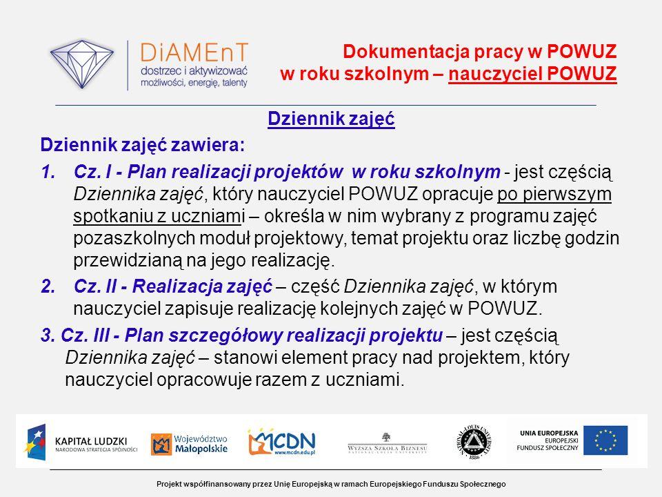 Projekt współfinansowany przez Unię Europejską w ramach Europejskiego Funduszu Społecznego Dokumentacja pracy w POWUZ w roku szkolnym – nauczyciel POWUZ Dziennik zajęć Dziennik zajęć zawiera: 1.Cz.