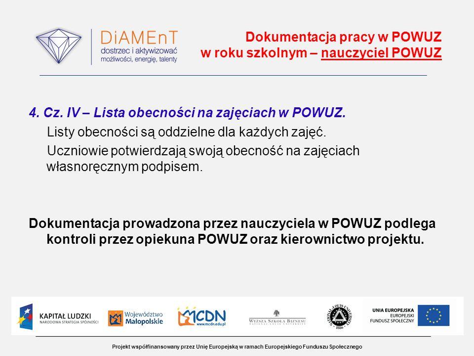 Projekt współfinansowany przez Unię Europejską w ramach Europejskiego Funduszu Społecznego Dokumentacja pracy w POWUZ w roku szkolnym – nauczyciel POWUZ 4.