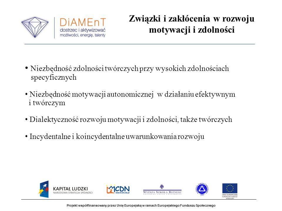 Projekt współfinansowany przez Unię Europejską w ramach Europejskiego Funduszu Społecznego Związki i zakłócenia w rozwoju motywacji i zdolności Niezbę