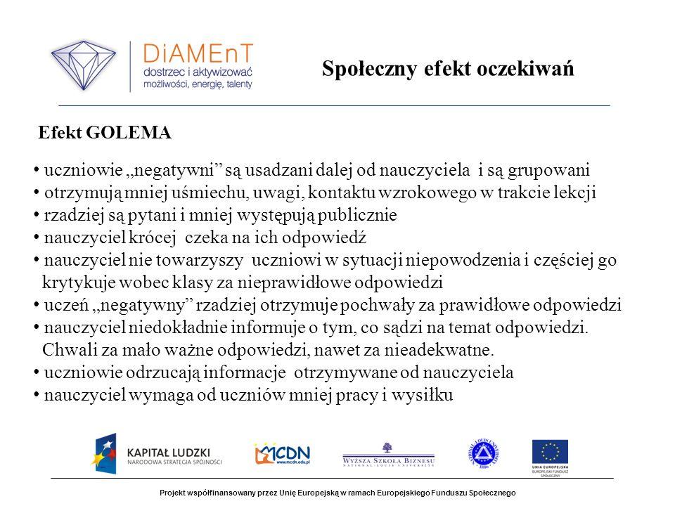 Projekt współfinansowany przez Unię Europejską w ramach Europejskiego Funduszu Społecznego Społeczny efekt oczekiwań Efekt GOLEMA uczniowie negatywni