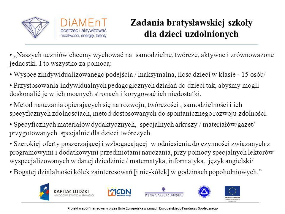 Projekt współfinansowany przez Unię Europejską w ramach Europejskiego Funduszu Społecznego Zadania bratysławskiej szkoły dla dzieci uzdolnionych Naszych uczniów chcemy wychować na samodzielne, twórcze, aktywne i zrównoważone jednostki.
