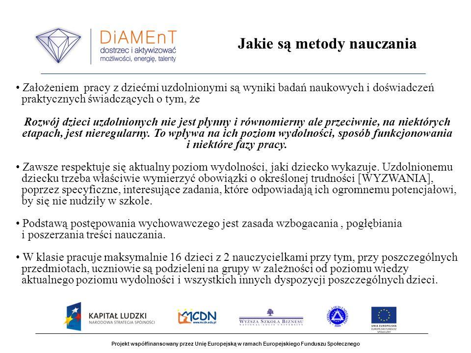 Projekt współfinansowany przez Unię Europejską w ramach Europejskiego Funduszu Społecznego Jakie są metody nauczania Założeniem pracy z dziećmi uzdoln