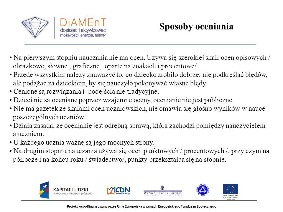 Projekt współfinansowany przez Unię Europejską w ramach Europejskiego Funduszu Społecznego Sposoby oceniania Na pierwszym stopniu nauczania nie ma oce