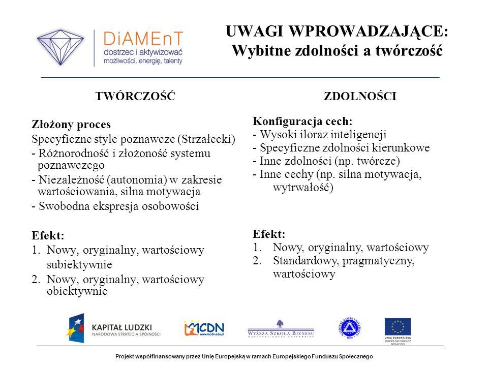 UWAGI WPROWADZAJĄCE: Wybitne zdolności a twórczość TWÓRCZOŚĆ Złożony proces Specyficzne style poznawcze (Strzałecki) - Różnorodność i złożoność system