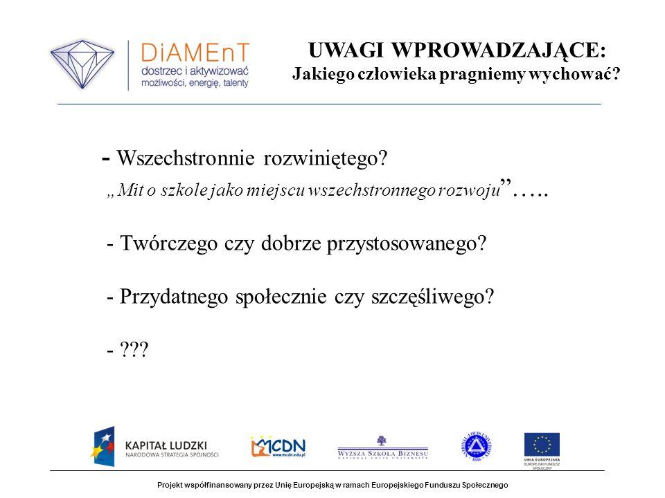 Projekt współfinansowany przez Unię Europejską w ramach Europejskiego Funduszu Społecznego Diagnoza pedagogiczna, pedagogiczno – psychologiczna i psychologiczna Diagnoza pedagogiczna Oceny szkolne Obserwacja ucznia w klasie i w szkole Osiągnięcia poza szkołą [olimpiady, konkursy] Diagnoza pedagogiczno –psychologiczna Kryteria pedagogiczne wzbogacone fragmentaryczną diagnozą psychologiczną Diagnoza psychologiczna Pomiar inteligencji, cech osobowości, motywacji, kompetencji społecznych i emocjonalnych