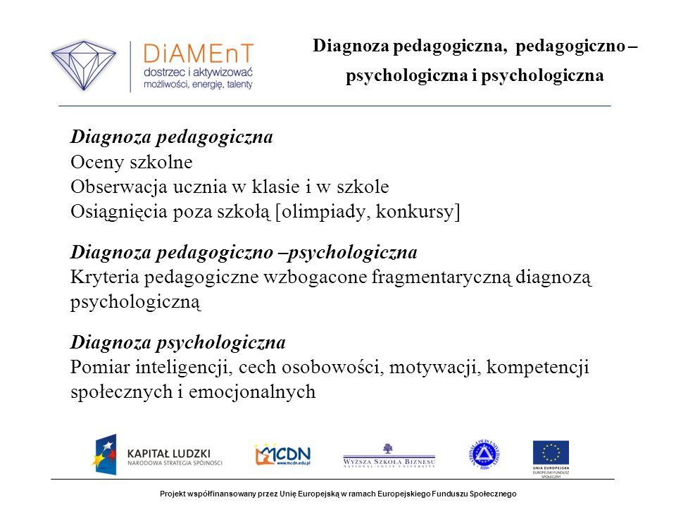 Projekt współfinansowany przez Unię Europejską w ramach Europejskiego Funduszu Społecznego Diagnoza pedagogiczna, pedagogiczno – psychologiczna i psyc