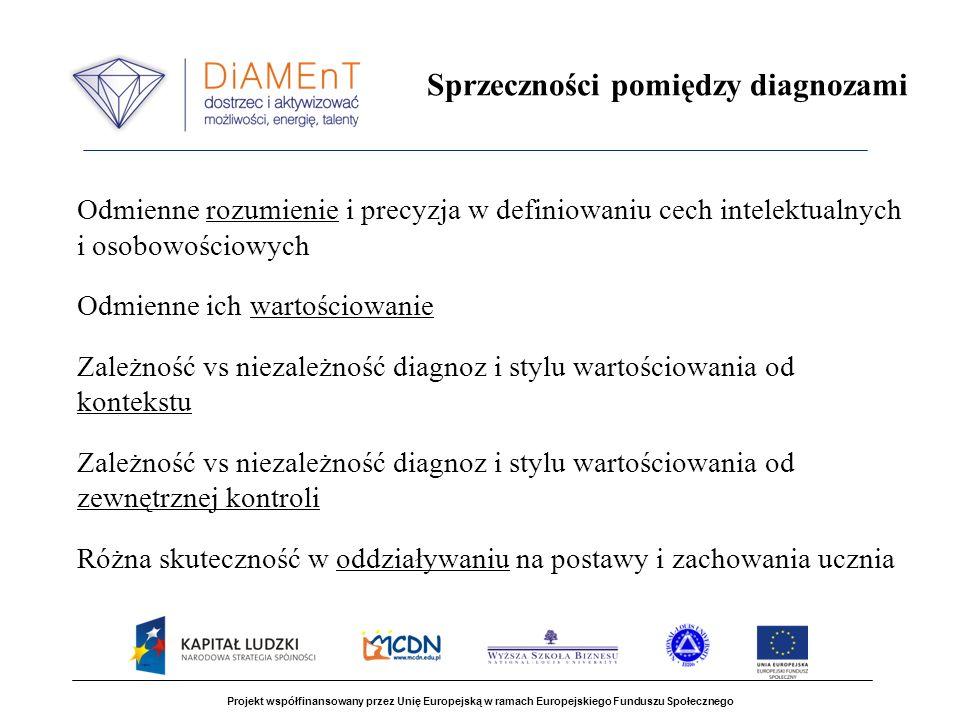 Projekt współfinansowany przez Unię Europejską w ramach Europejskiego Funduszu Społecznego Sprzeczności pomiędzy diagnozami Odmienne rozumienie i precyzja w definiowaniu cech intelektualnych i osobowościowych Odmienne ich wartościowanie Zależność vs niezależność diagnoz i stylu wartościowania od kontekstu Zależność vs niezależność diagnoz i stylu wartościowania od zewnętrznej kontroli Różna skuteczność w oddziaływaniu na postawy i zachowania ucznia