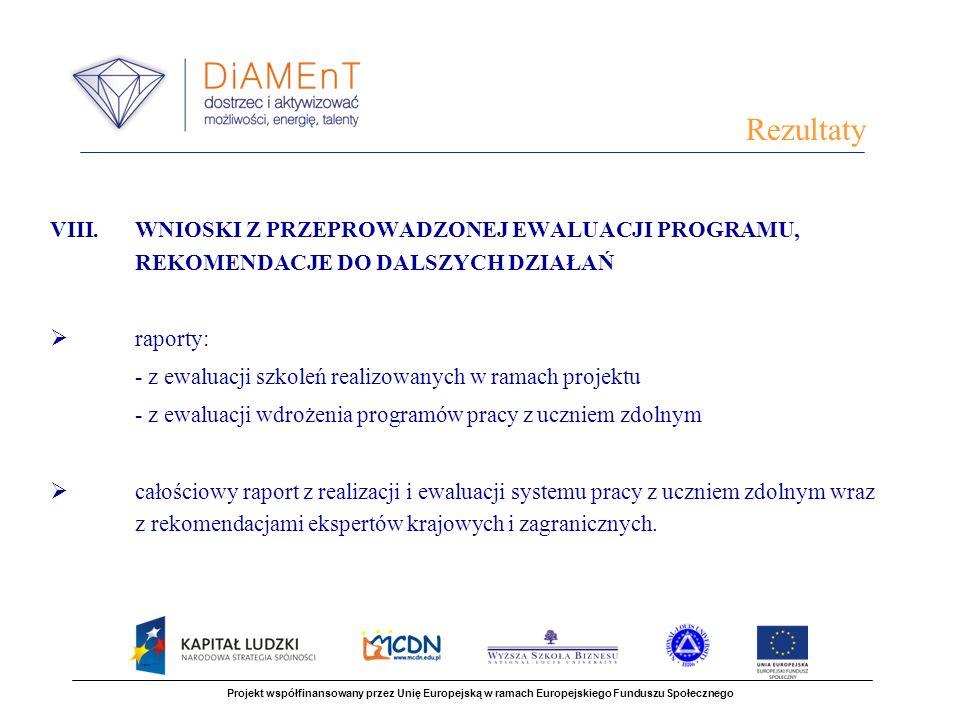 VIII.WNIOSKI Z PRZEPROWADZONEJ EWALUACJI PROGRAMU, REKOMENDACJE DO DALSZYCH DZIAŁAŃ raporty: - z ewaluacji szkoleń realizowanych w ramach projektu - z