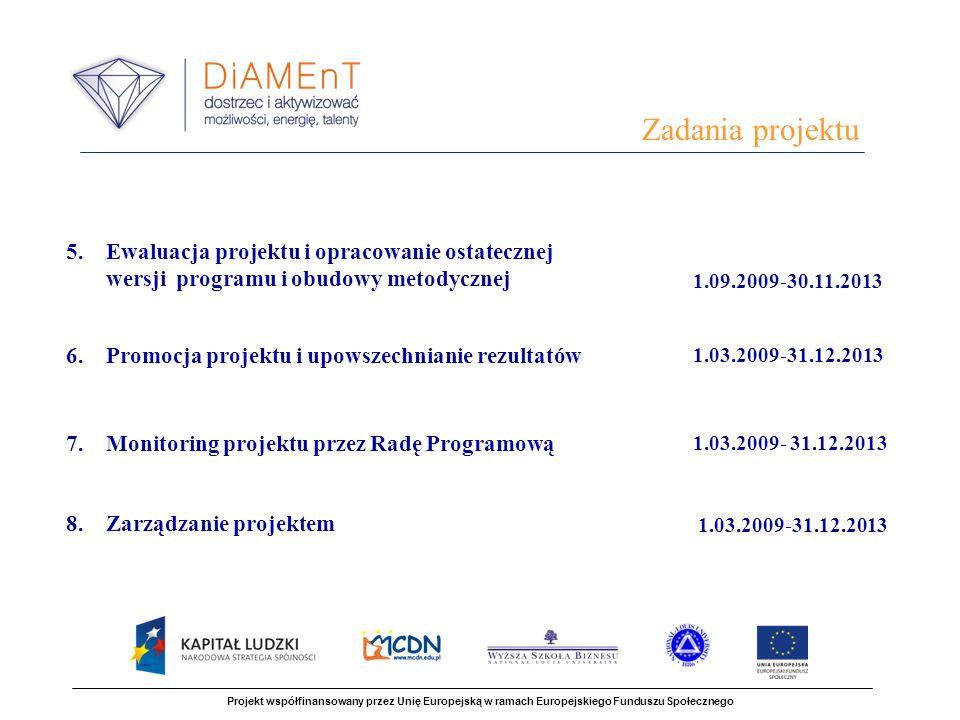 Zadania projektu Projekt współfinansowany przez Unię Europejską w ramach Europejskiego Funduszu Społecznego 5. Ewaluacja projektu i opracowanie ostate
