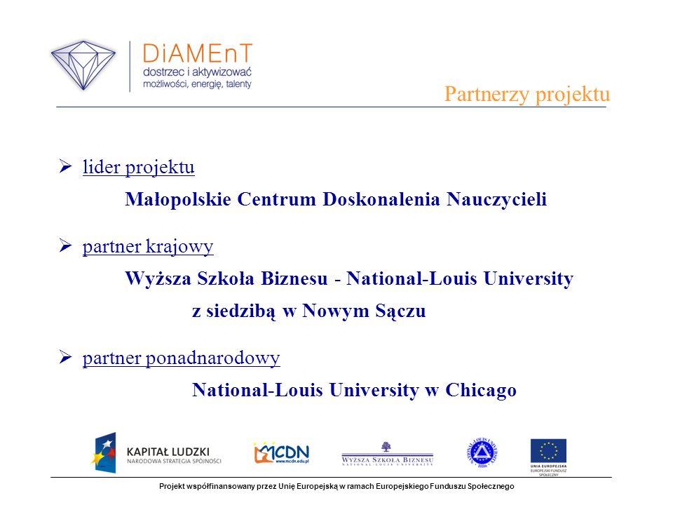 lider projektu Małopolskie Centrum Doskonalenia Nauczycieli partner krajowy Wyższa Szkoła Biznesu - National-Louis University z siedzibą w Nowym Sączu