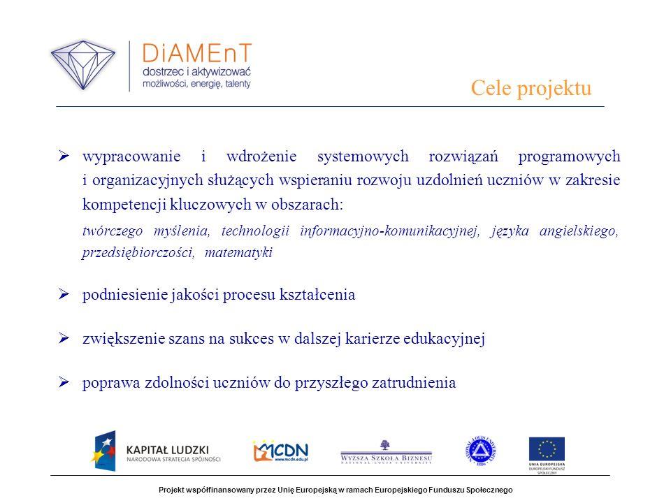 Głównym rezultatem projektu są systemowe rozwiązania programowe i organizacyjne oraz zasoby ludzkie służące wspieraniu rozwoju uzdolnień uczniów w zakresie kompetencji kluczowych Projekt współfinansowany przez Unię Europejską w ramach Europejskiego Funduszu Społecznego Rezultaty