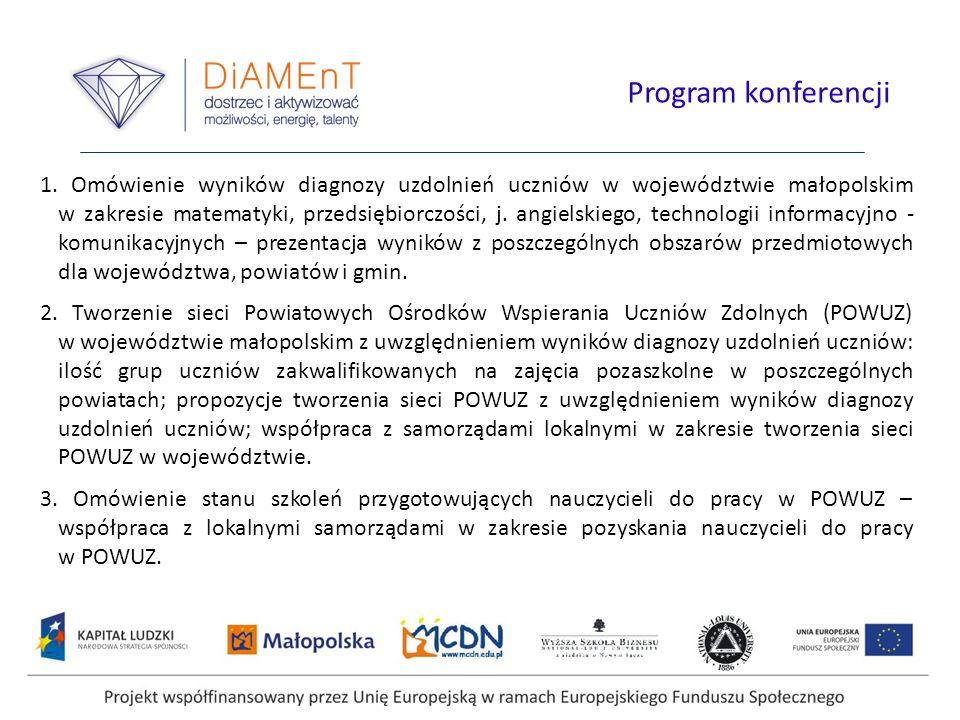 1. Omówienie wyników diagnozy uzdolnień uczniów w województwie małopolskim w zakresie matematyki, przedsiębiorczości, j. angielskiego, technologii inf